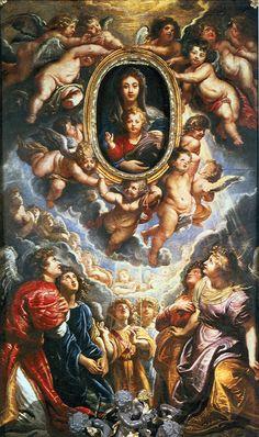 Pala dell'altare maggiore con la Madonna in Gloria con angeli e i due laterali con Figure di Santi della Chiesa di Santa Maria in Vallicella Risposta 8907: sono opere del soggiorno romano di Rubens