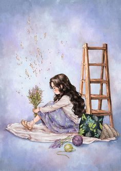 Pink buds bloomed on the tip of weak branches. Each bloomed bud is so simple and lovely that it makes you smile just by staring at them. Grafiti, Forest Girl, Korean Art, Anime Art Girl, Cute Illustration, Watercolour Illustration, Cartoon Art, Cute Drawings, Cute Art
