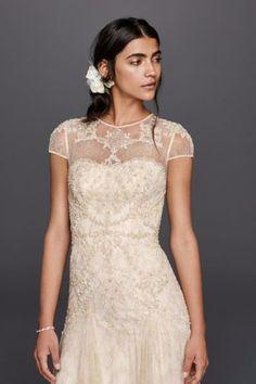 Melissa Sweet Capsleeve Illusion Wedding Dress
