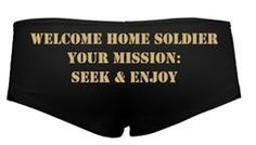 A personal favorite from my Etsy shop https://www.etsy.com/listing/400307431/military-lingerie-welcome-home-soldier