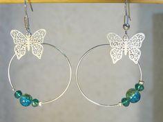 Boucles d'oreilles créoles papillon blanc turquoise