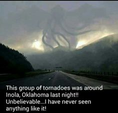 "Looks like the infamous ""Flying Spaghetti Monster"", proving it really does exist ! Lol<<<< I severely doubt this is real, but I just stopped caring. So I'll keep it on my board of interesting stuff Tornados, Thunderstorms, Weather Cloud, Wild Weather, Weather Storm, Weather Art, Nature Pictures, Cool Pictures, Cool Photos"