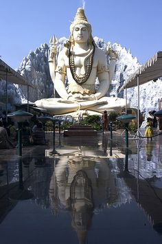 This is a picture of the Hindu Temple Shiv Mandir in Bangalore, India -- a 65ft statue of Lord Shiva. It was interesting how peaceful it looked and how the temple is very symmetric and balanced.