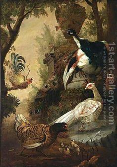 (after) Melchior De Hondecoeter:Peacocks And Other Birds In A Park Landscape