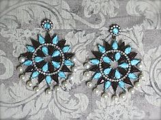 1960s KJL Kenneth Jay Lane Rhinestone Pearl Star Earrings Turquoise Garnet #KennethJayLane #Chandelier
