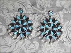 1960s KJL Kenneth Jay Lane Rhinestone Pearl Star Earrings Turquoise Garnet #KennethJayLane #Chandelier