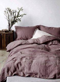 Dark lavender stone-washed linens