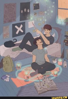 Everyone's just gonna ignore that Phil is Sitting on the Satan summoning thingie? No okay. But it's adorable tho.