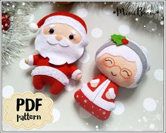 Christmas pattern felt Santa Claus and Mrs Claus pattern PDF Christmas ornaments felt pattern Santa sewing tutorial Christmas DIY ornaments Christmas Crafts To Sell, Felt Christmas Decorations, Beaded Christmas Ornaments, Christmas Sewing, Noel Christmas, Felt Ornaments, How To Make Ornaments, Christmas Patterns, Homemade Christmas