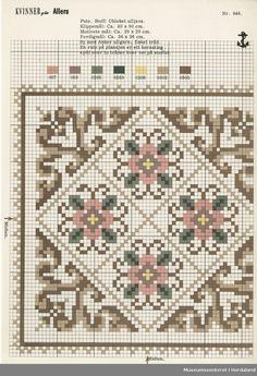 Trykt mønsterark i til brodert tekstil. Cross Stitching, Cross Stitch Embroidery, Embroidery Patterns, Cross Stitch Cushion, Cross Stitch Rose, Cross Stitch Designs, Cross Stitch Patterns, Cross Stitch Geometric, Cross Stitch Pictures