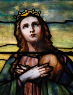 Tiffany Studios | Mary, Queen of Heaven (detail) | Leaded glass | Holy Angels RC Church, Buffalo, NY