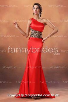 Sheath Red One Shoulder Satin Chic Evening Dress - Fannybrides.com Discount Prom Dresses, Long Evening Gowns, Girls Dresses, Formal Dresses, Dress P, Chiffon, Bride, Studio, Shoulder