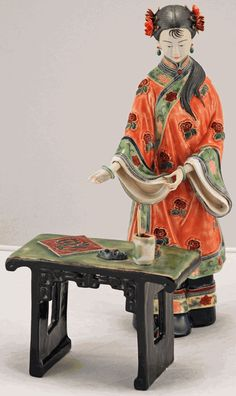 Lady Standing at Painting Desk Set from China
