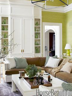 love the use of mocha with this green. It looks very natural, but the bright white makes it very clean.