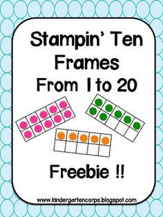 numbers to 20, ten frames free, tens frames kindergarten