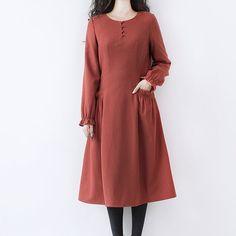 dark orange tunic woolen dress vintage casual long by ideacloth, $99.00
