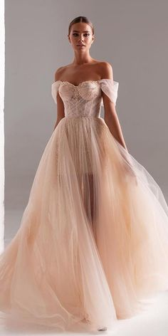 Color Trend: 18 Blush Wedding Dresses You Must See ❤ blush wedding dresses a line sweetheart neckline off the shoulder millanova ❤ #weddingdresses #weddingoutfit #bridaloutfit #weddinggown