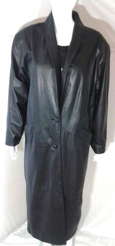Comint Black Leather Trench Coat Womens Medium Full Length Leather Coat #Comint #Trench #any
