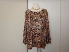 Westbound Woman 3/4 Sleeve Embellished Pullover Printed Top Shirt Size 3X #WestboundWoman #KnitTop #CareerCasual