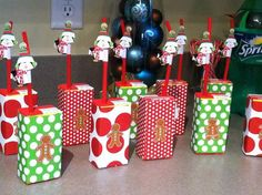 Christmas Party - decorated juice boxes