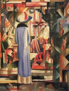 August Macke (German, 1887 - 1914)  , woman in front of a large illuminated window.