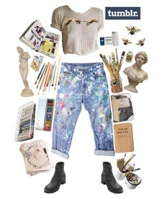 """Oh hi Tumblr, look at me I'm an artist"" by thewitchishere on Polyvore featuring Rialto Jean Project, COSTUME NATIONAL, ArtBin and Mason's"