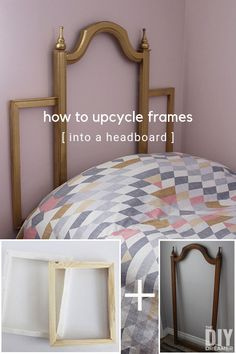 How to upcycle frames into a headboard. Quick and easy DIY headboard. If the frame is too small to make a headboard, add frames on each side to make it wider.