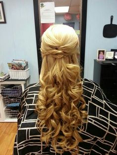 Blond hair curls
