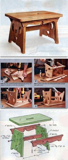 Footstool Plans - Furniture Plans and Projects | WoodArchivist.com #WoodworkingProjects #furnitureplans