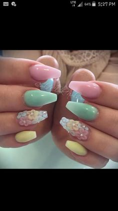 Pastel Easter color nails 3d flowers rainbow colorful