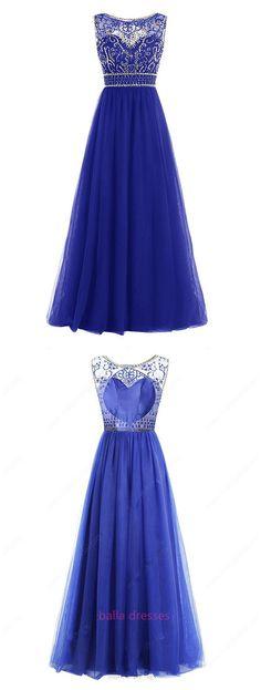 Royal Blue A-line Scoop Neck Tulle Floor-length Sequins Open Back Modest Prom Dresses