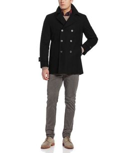 a153bacb46e Tommy Hilfiger Men's Brady 33 Inch Double Breasted Fashion Pea Coat, Black,  38 Regular