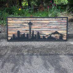 Arte de pared de madera rústico moderno Skyline