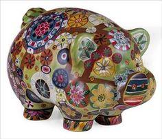 Imax Folk Art Multi Color Country Style Piggy Bank 18922 - Statues & Figurines - Home Decor & Accessories Money Bank, Cute Piggies, This Little Piggy, Cool Stuff, Kid Stuff, Random Stuff, Random Things, Joss And Main, Floral Motif