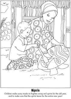 Dover Sampler - Happy New Year Around the World Dover Coloring Pages, School Coloring Pages, Adult Coloring Pages, Coloring Books, African Drawings, Harmony Day, Nigerian Culture, New Years Traditions, Coloring Sheets For Kids