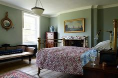 Teal Blue Bedroom in Country Bedroom Ideas, traditional bedroom with wooden floors, marble fireplace, quilted bedcover and brass bed. Home, Cottage Bedroom, Home Bedroom, Victorian Bedroom, Bedroom Vintage, Bedroom Decor, Beautiful Bedrooms, Bedroom Green, Country Bedroom