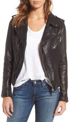 LAMARQUE Washed Leather Moto Jacket
