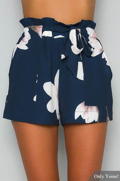 Navy Random Floral Print Self-tie Design Shorts