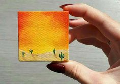 Little Desert Painting Desert Cactus Painting Cacti #homeArt Cactus Painting, Painting & Drawing, Mini Paintings, Miniature Paintings, Small Canvas Paintings, Mini Canvas Art, Desert Drawing, Cactus Pictures, Painted Desert