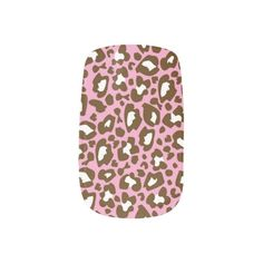 Pink and Brown Leopard Spotted Animal Print Minx  Nail Art