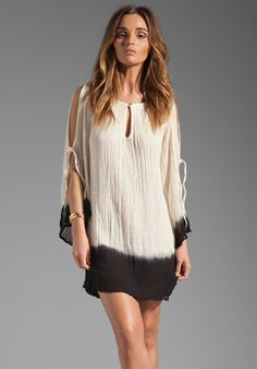 JEN'S PIRATE BOOTY Hot Summer Night's Shoulder Mini Dress in Natural/Black Dip Dye at Revolve Clothing - Free Shipping!