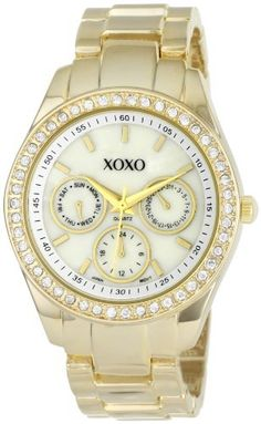Best Buy XOXO Womens XO5302A Rhinestone Accent Gold-Tone Bracelet Watch at http://get.nazuka.net/review/product.php?asin=B004P0UUE2