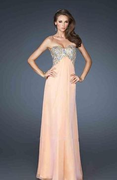 Elegant No Waist/Princess Seams A-Line Chiffon Strapless Orange Evening Dresses In Stock kaladress11732