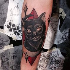 40 Mysterious Black Cat Tattoo Ideas – Are They Good Or Evil? Check more at http://tattoo-journal.com/best-black-cat-tattoo/
