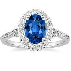 Blue Sapphire Circa Engagement Ring - 18K White Gold