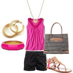 Pink embellished tank & black shorts