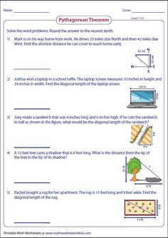 Pythagorean theorem Worksheet Answers - 50 Pythagorean theorem Worksheet Answers , Worksheets to Practice Pythagorean theorem Problems Geometry Worksheets, Math Worksheets, Education Quotes For Teachers, Quotes For Students, Life Problems, Word Problems, Pythagorean Theorem Problems, Math Notebooks, Real Life