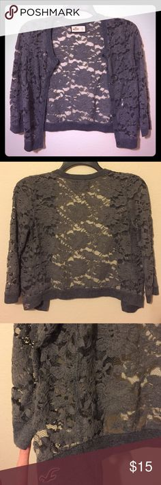 Gray lace Hollister cardigan So cute to put over something or wear with a plain tank! Overall very good condition-fabric is a little fuzzy on parts Hollister Sweaters Cardigans