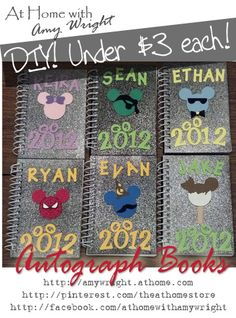 "DIY Disney Autograph Books for Less Money ~ Materials: ~ Glitter notebooks (found at AC Moore for $1.00 each). Any spiral notebook with a heavy cover and unlined pages will do! ~ Multi-pack of Adhesive Foam sheets (any craft store or craft section) ~ Pen ~ Sharp Scissors ~ Stencils or Die Cut Machine (I used a Sizzix to punch the letters, I used circle stencils to make a ""Mickey"" template)"