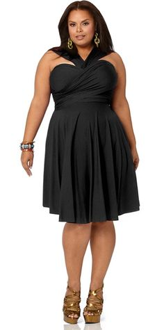 """Marilyn"" Short Convertible Dress - Black"
